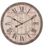 Clayre & Eef Bruine houten wandklok Paris - 60 cm