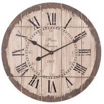 Bruine houten wandklok Paris - 60 cm