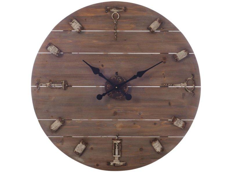 J-Line Bruine houten wandklok Kurkentrekker - 60 cm