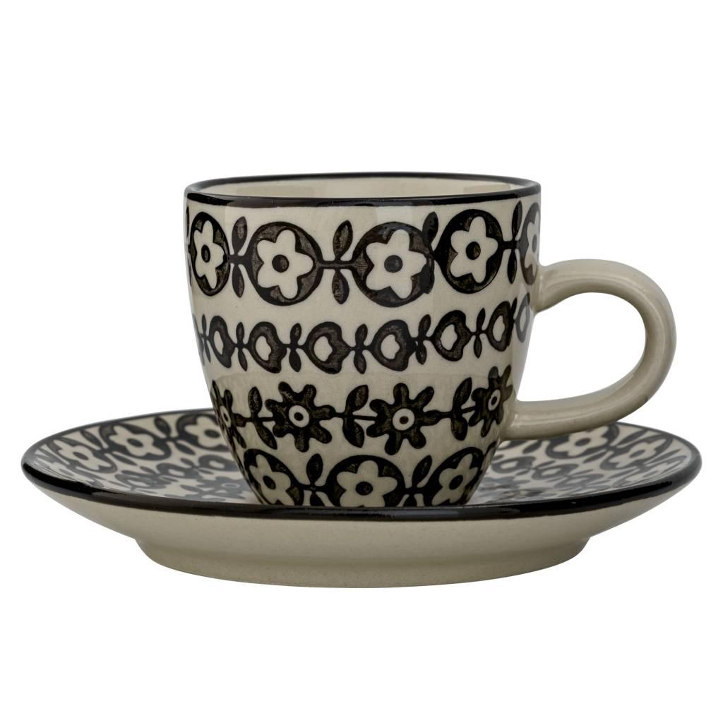 Bloomingville Espresso kop met schotel Ø11,5 cm