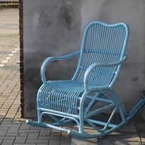 Blauwe rotan schommelstoel - Mahakan