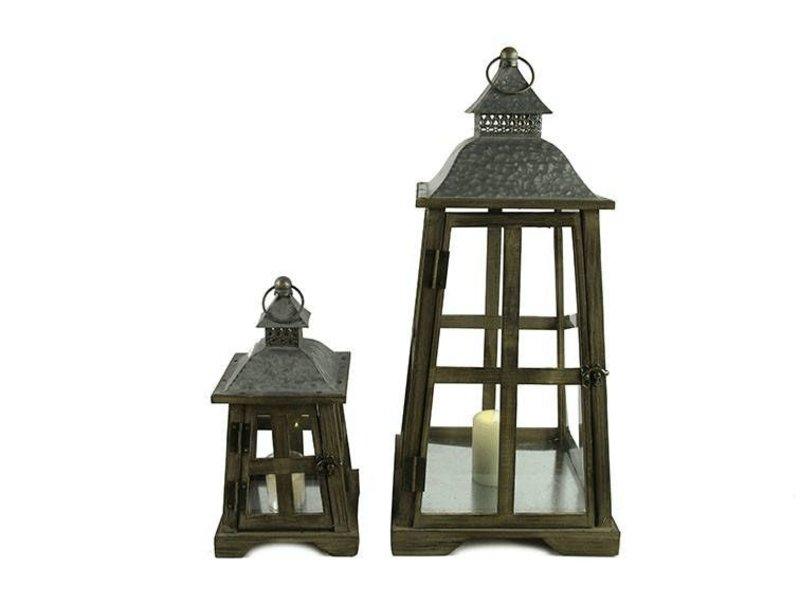 Countryfield Bruine houten lantaarn Kenmare - 33 cm