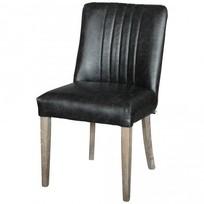 Eetkamerstoel Zwart Leder - 48x57xH80 cm