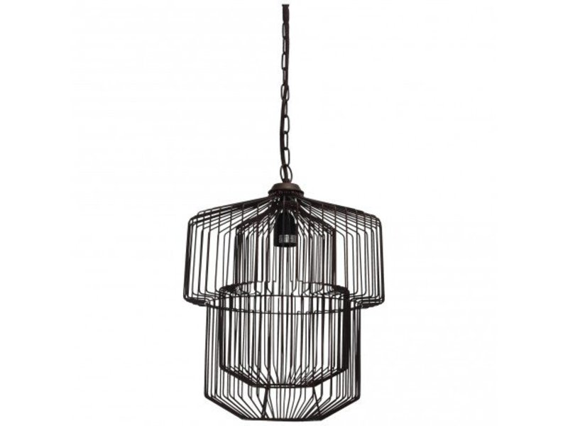 PTMD Collection Hanglamp ijzer zwart - 31x31x39 cm