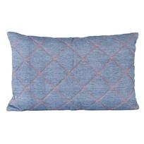 Kussen blauw/oranje - 50x30 cm