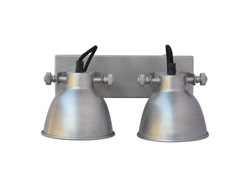 GeWoon Wandlamp industrial dubbel antiek zink - 28x14x16 cm