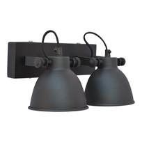 Wandlamp industrial dubbel vintage black - 28x14x16 cm