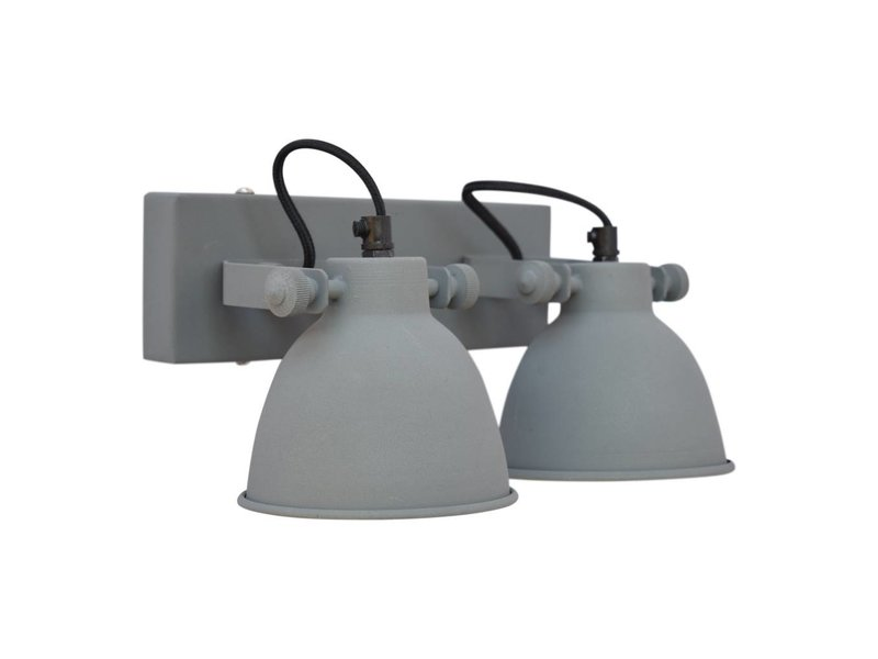GeWoon Wandlamp industrial dubbel vintage grey - 28x14x16 cm