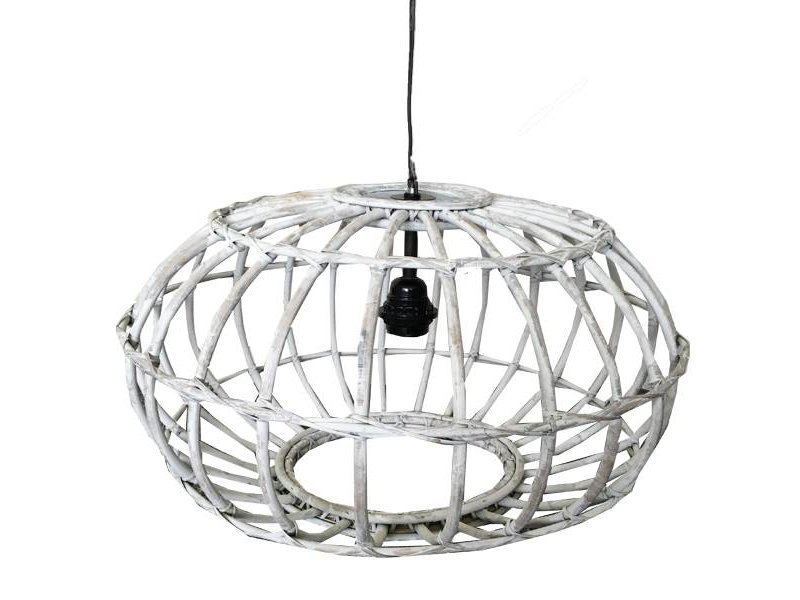 GeWoon Whitewash rotan hanglamp - Ø50xH30 cm