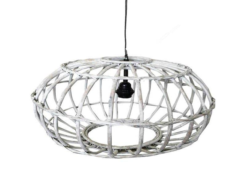 GeWoon Whitewash rotan hanglamp - Ø60xH30 cm