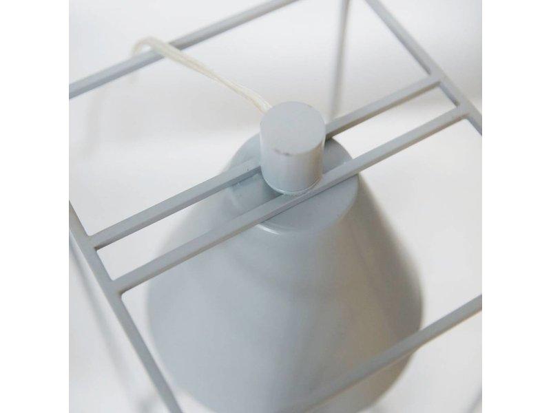 House Doctor Tafellamp Kubix grijs/wit - 18x18x42 cm