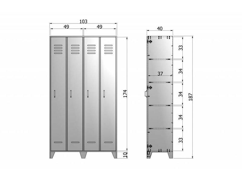 Woood Lockerkast Stijn Staalgrijs - 103x40xH187 cm