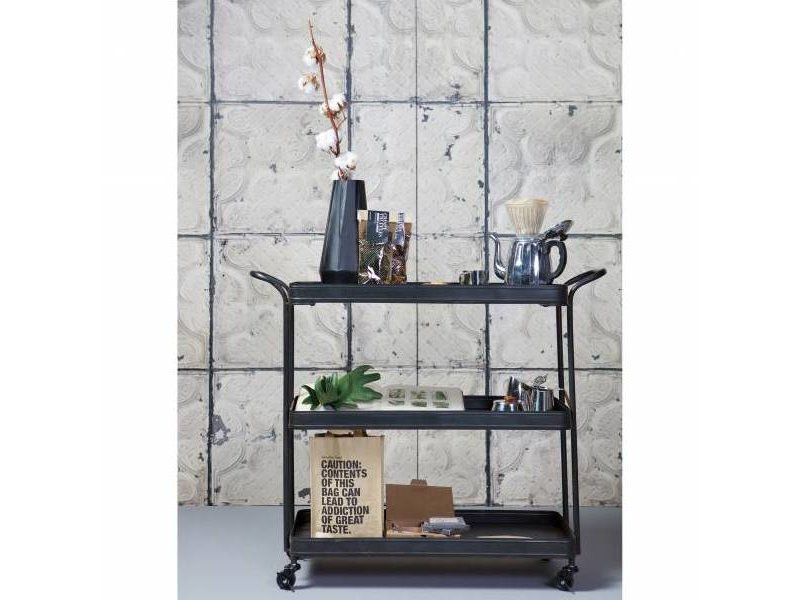 BePureHome Trolley Tea zwart - 85x99x36,5 cm