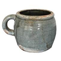 Vaas grijs aardewerk - 20x14xH16 cm