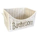 GeWoon Witte Rieten Badkamermand Bathroom - 24x18xH15 cm