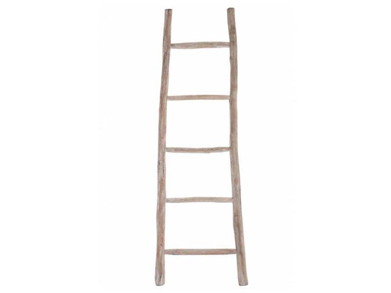J-Line Decoratie Ladder Whitewash - 50x8xH160 cm