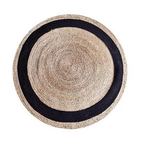 Vloerkleed Zwart Jute - Ø120 cm