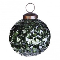 Kerstbal Dented Groen - 7xH7 cm