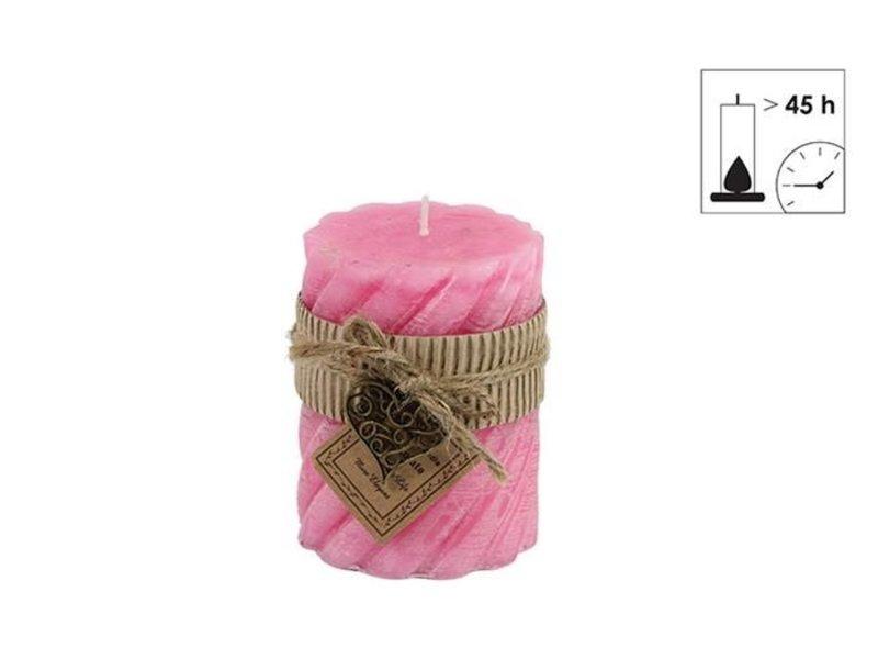 Countryfield kaars met hanger roze - Ø7,5xH10 cm