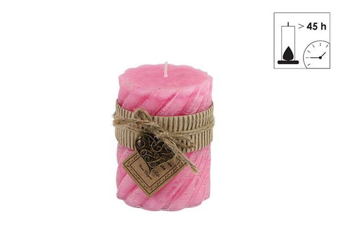 Countryfield kaars met hanger roze - �7,5xH10 cm