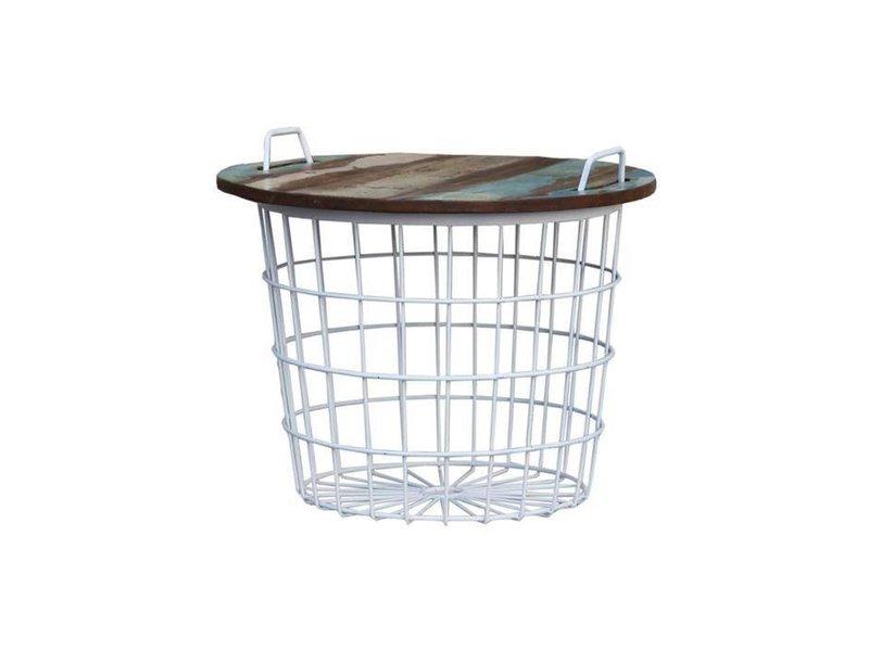 By-Boo Bijzettafel Basket Wit - 60xH50 cm