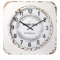 Witte Wandklok Vintage - 60xH60 cm