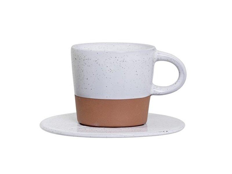 Bloomingville Kop en schotel Terracotta - Espresso