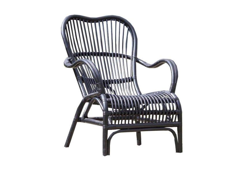 GeWoon Zwarte Rotan Loungestoel - 67x80xH86 cm