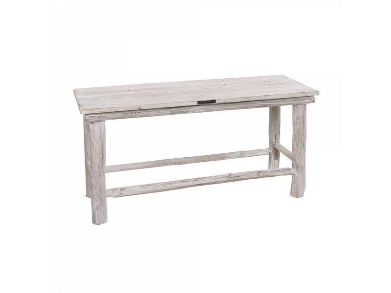 GeWoon Houten bankje whitewash - 90x30xH46 cm