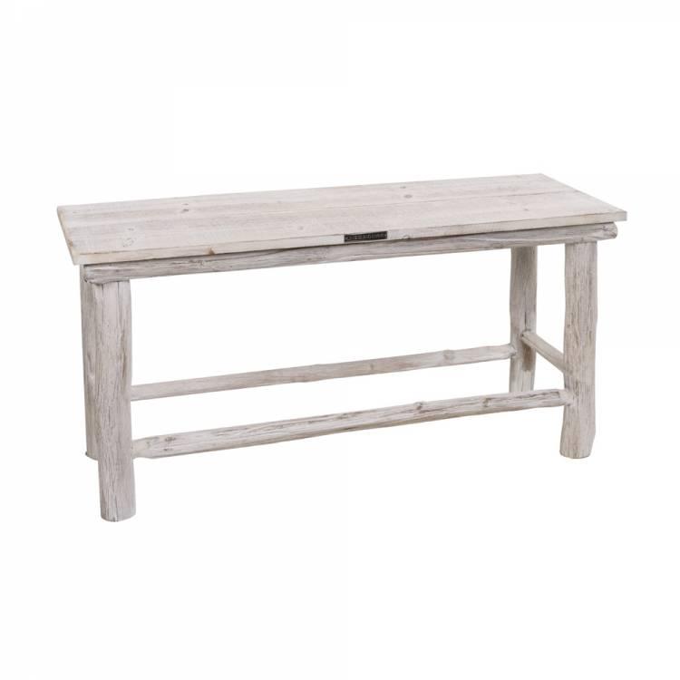 GeWoon Houten bankje whitewash 90x30xH46 cm € 79.95 bij GeWoon Knus