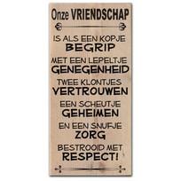 Tekstbord Onze vriendschap