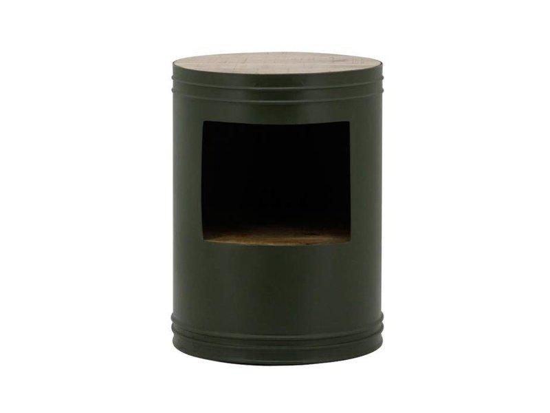 By-Boo Bijzettafel Barrel Groen - Ø40xH55 cm