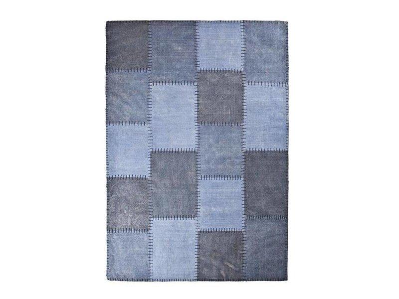 By-Boo Vloerkleed Patchwork Mono Blauw - 200x290 cm