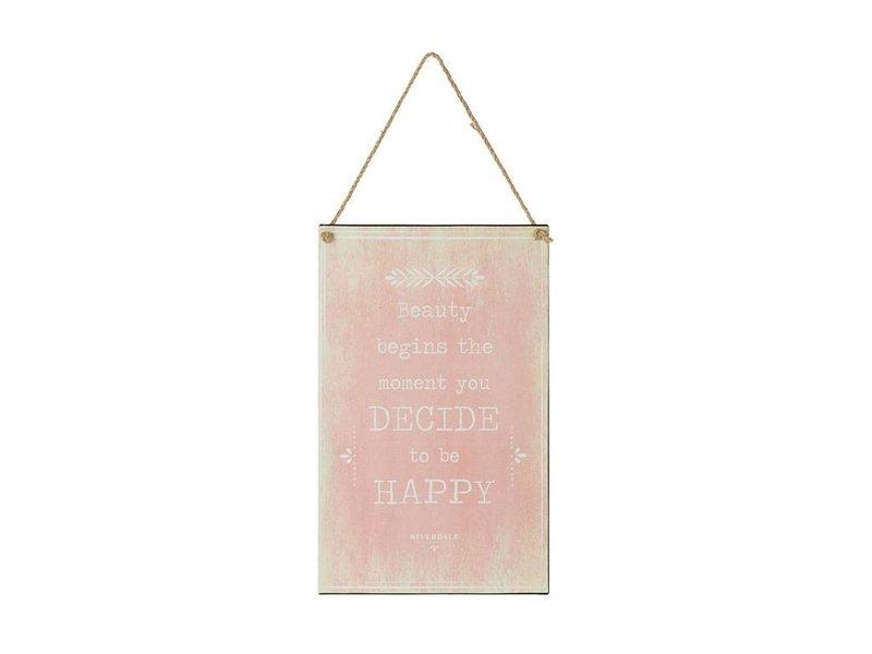 Riverdale Tekstbord Happy Roze - 23xH38 cm
