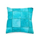By-Boo Kussen Patchwork Turquoise Leder - 45xH45 cm