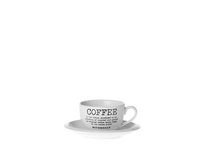 Riverdale Kop & schotel Coffee - Ø15,5xH7 cm