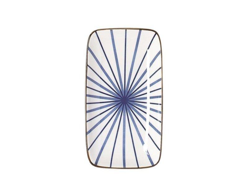 Riverdale Bord Lines Blauw Rechthoek - 12,5x22,5xH2 cm