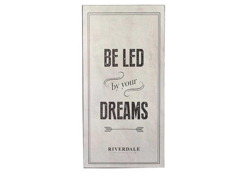 Riverdale Tekstbord Dreams Grijs - 30x1xH60 cm