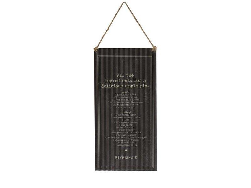 Riverdale Tekstbord Ingredients Zwart - 30x1xH60 cm
