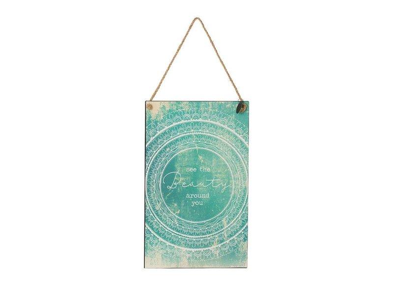 Riverdale Tekstbord Circle Aqua Blauw - 23x1xH38 cm