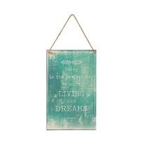 Tekstbord Dreams Aqua Blauw - 23x1xH38 cm