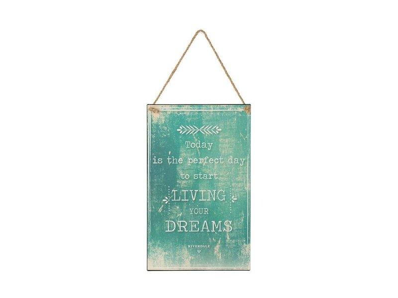 Riverdale Tekstbord Dreams Aqua Blauw - 23x1xH38 cm