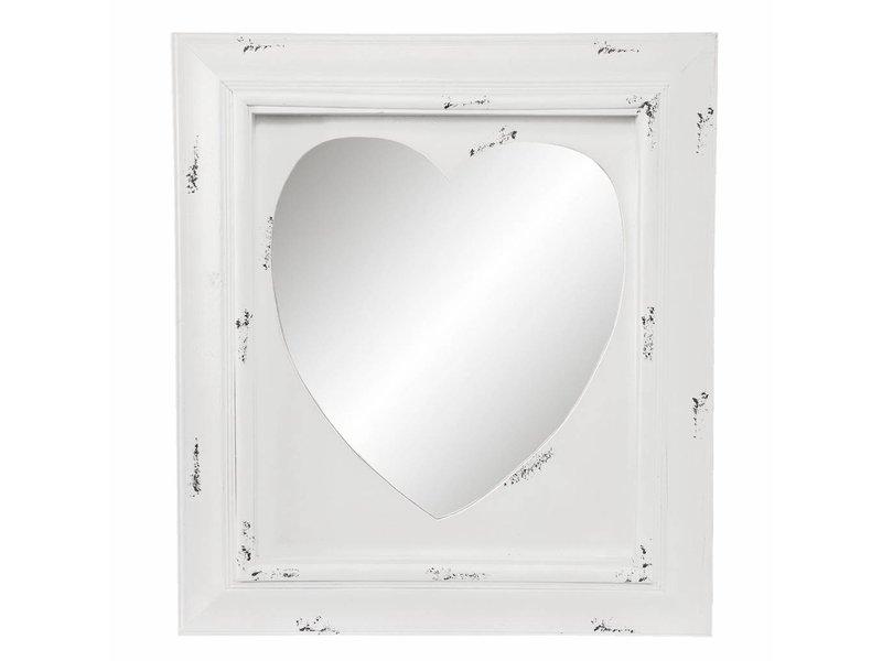 Clayre & Eef Wandspiegel Hout Hart - 62x5xH70 cm