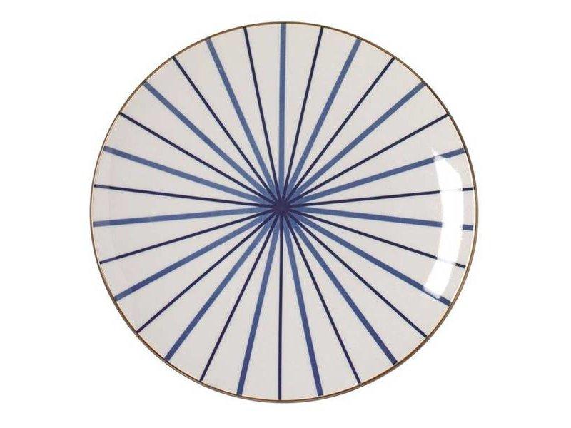 Riverdale Bord Lines Blauw - Setje van 6 stuks
