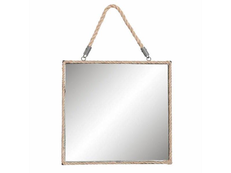 Clayre & Eef Vierkante Wandspiegel Jute - 35x3xH35 cm