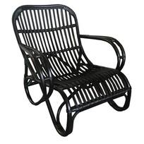 Zwarte rotan loungestoel - Mahakan