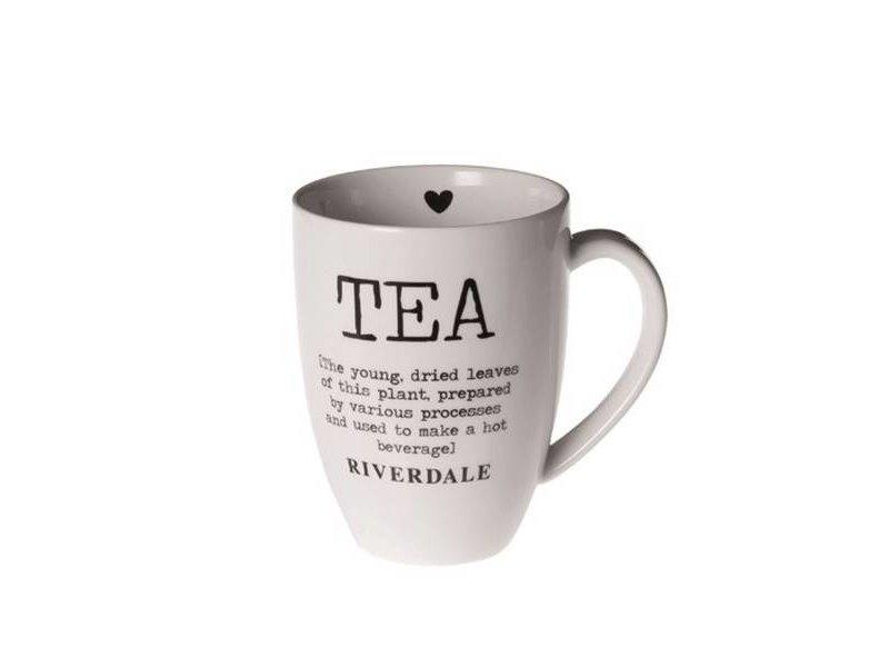 Riverdale Witte Mok Tea XL - 14x10,5xH13,5 cm