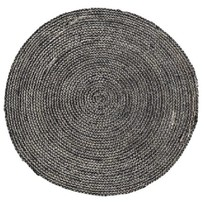 Zwart Vloerkleed Hennep - Ø100 cm