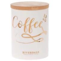 Witte Voorraadpot Coffee - Ø9,5xH13 cm