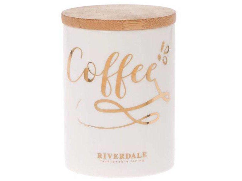 Riverdale Witte Voorraadpot Coffee - Ø9,5xH13 cm